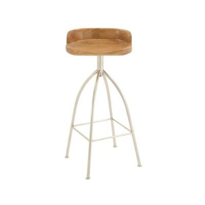 35 in. Silver Metallic Iron Bar Stool with Oak Brown Wooden Seat