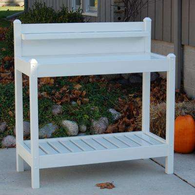 48 in. W x 19.5 in. D x 49 in. White Vinyl Greenfield Potting Bench