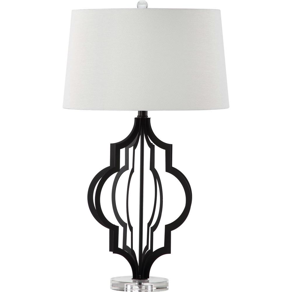 safavieh flint 30 in clear and black table lamp lit4270a the home depot. Black Bedroom Furniture Sets. Home Design Ideas