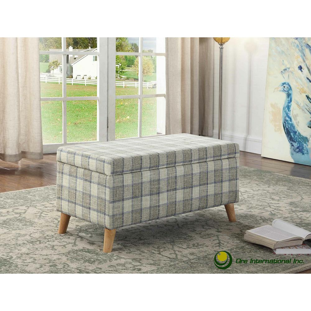 Grey Blue Tattan Storage Bench With 2 Seating