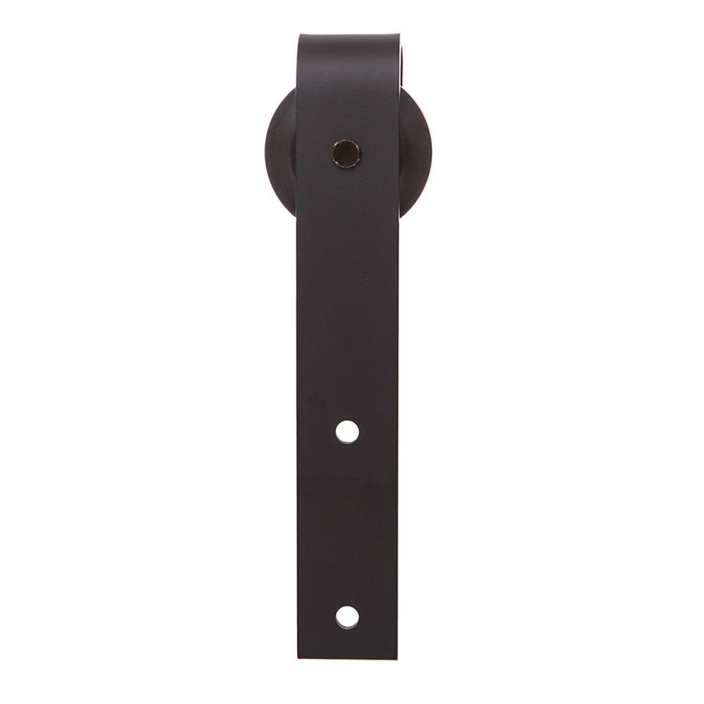 Rustica Hardware 72 In. Stag Steel Flat Black Sliding Barn Door Hardware Kit