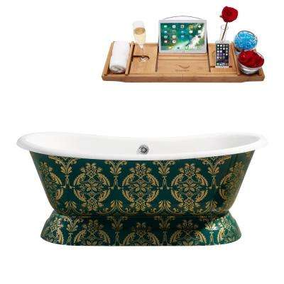 67.3 in. Cast Iron Flatbottom Non-Whirlpool Bathtub in Green
