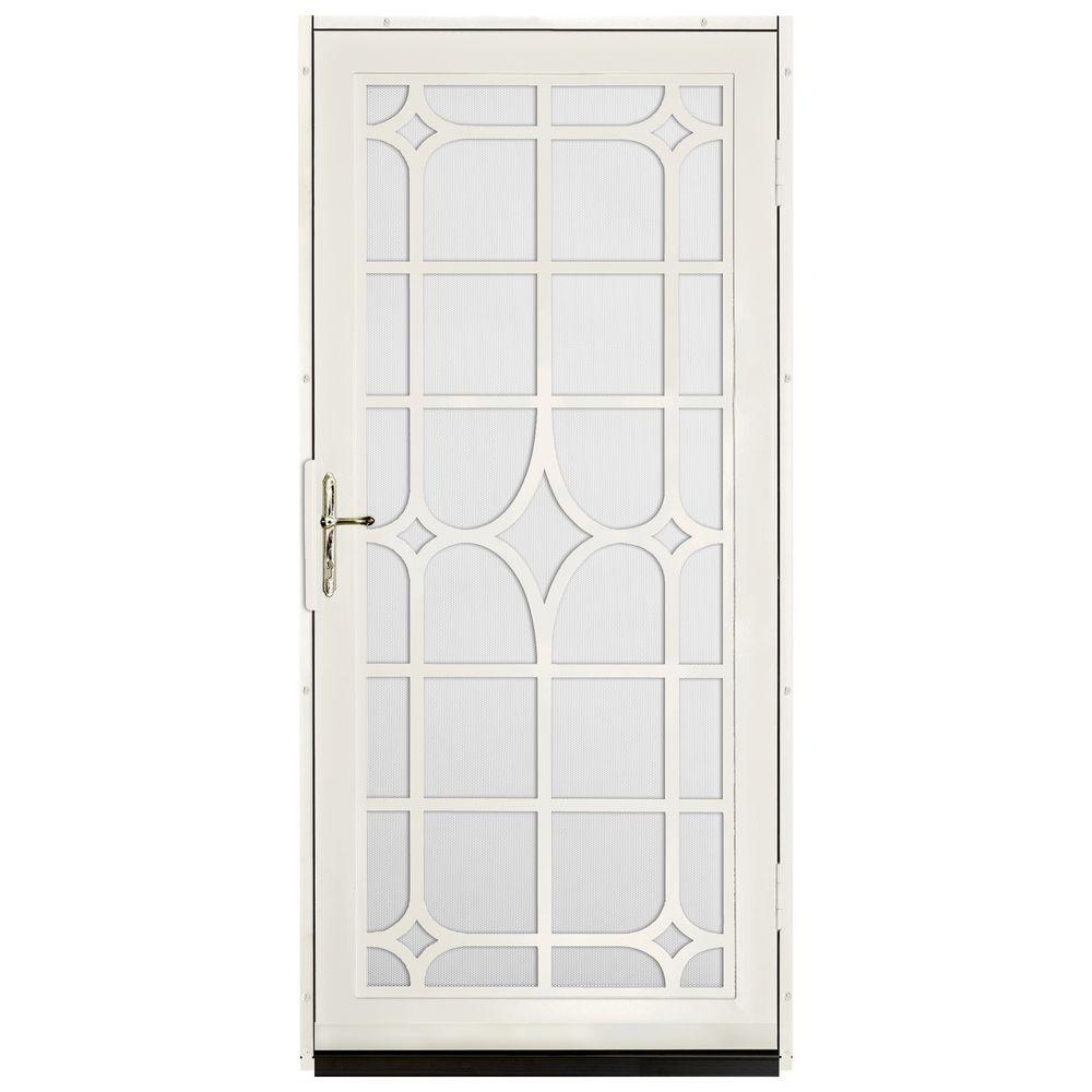 Unique Home Designs 36 in. x 80 in. Lexington Almond Surface Mount Steel Security Door with White Perforated Screen and Brass Hardware