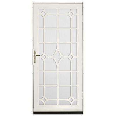 Lexington Outswing Security Door with Perforated Screen and Polished Brass Hardware