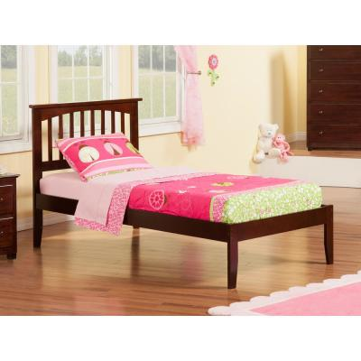 Mission Walnut Twin XL Platform Bed with Open Foot Board