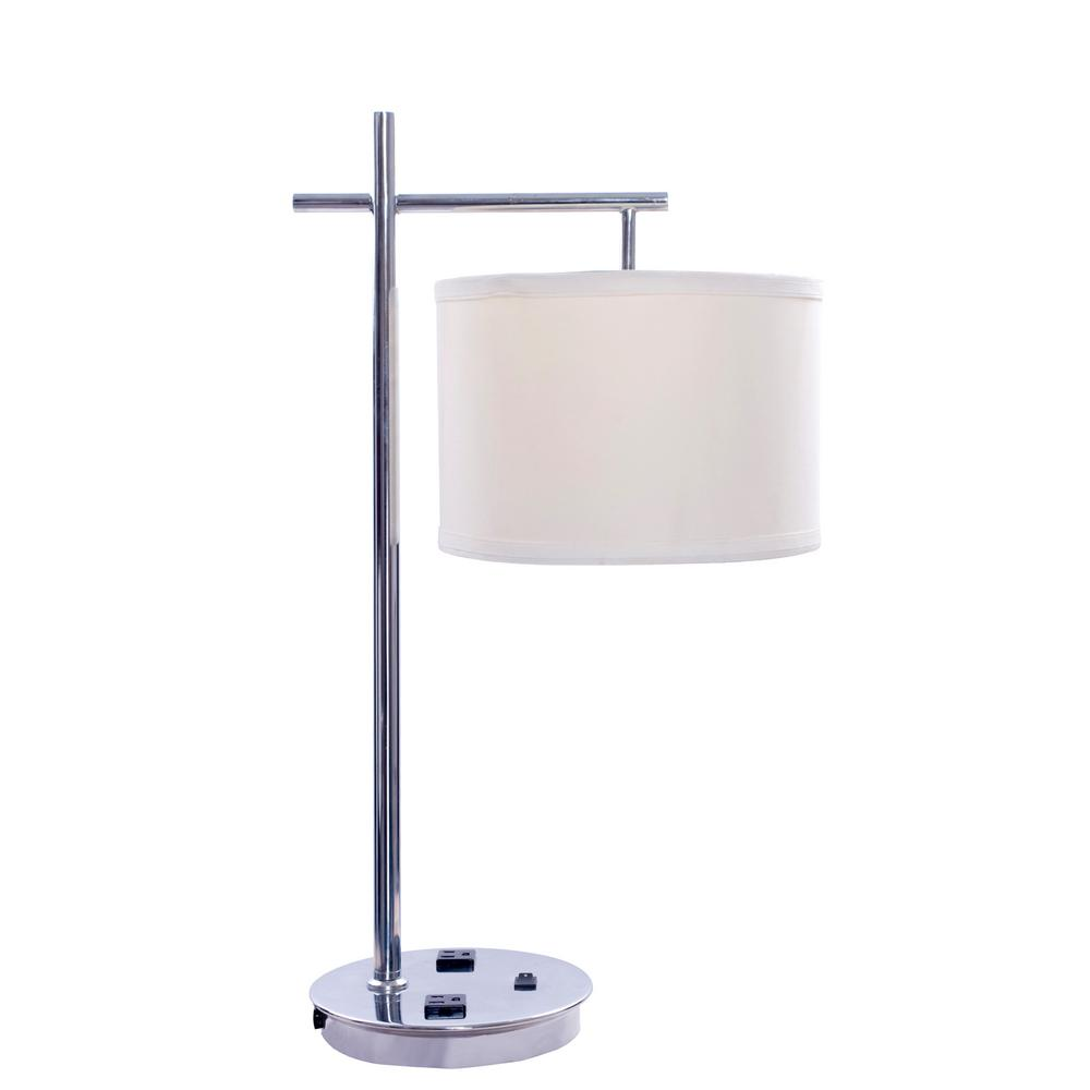 26 in. Tech-Friendly Metal Chrome Table Lamp with 2 Convenience Outlets