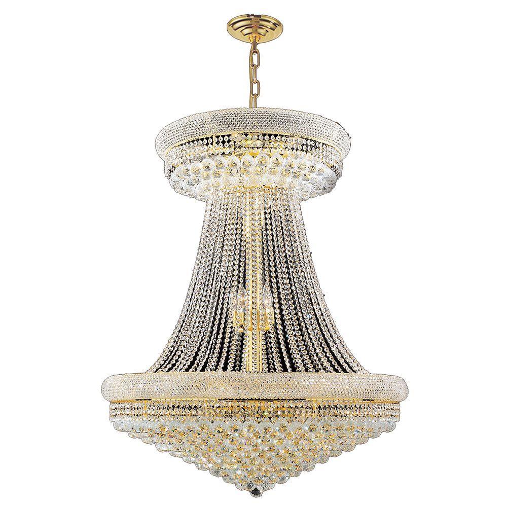 Empire 28-Light Gold Crystal Chandelier