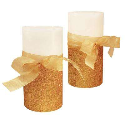 Real Wax 6 in. H Bow LED Candle (Set of 2)