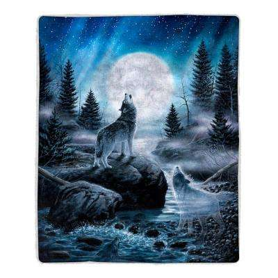 Howling Wolf Print Sherpa Fleece Throw Blanket