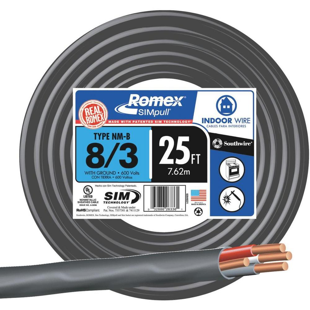 Southwire 25 ft. 8/3 Stranded Romex SIMpull CU NM-B W/G Wire ... on delta wiring, receptacle wiring, conduit wiring, attic wiring, lutron wiring, types of home wiring, aluminum wiring, cable wiring,
