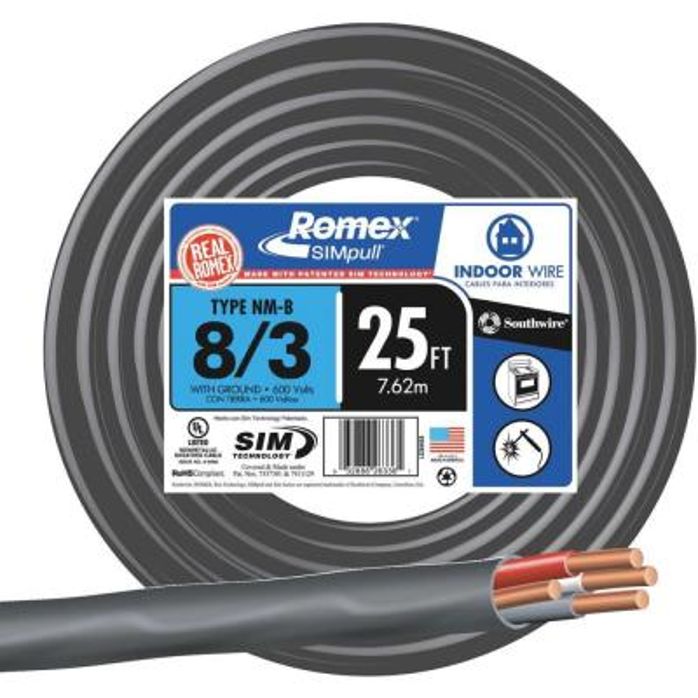 25 ft. 8/3 Stranded Romex SIMpull CU NM-B W/G Wire