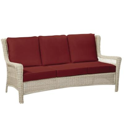 Park Meadows Off-White Wicker Outdoor Patio Sofa with CushionGuard Chili Red Cushions