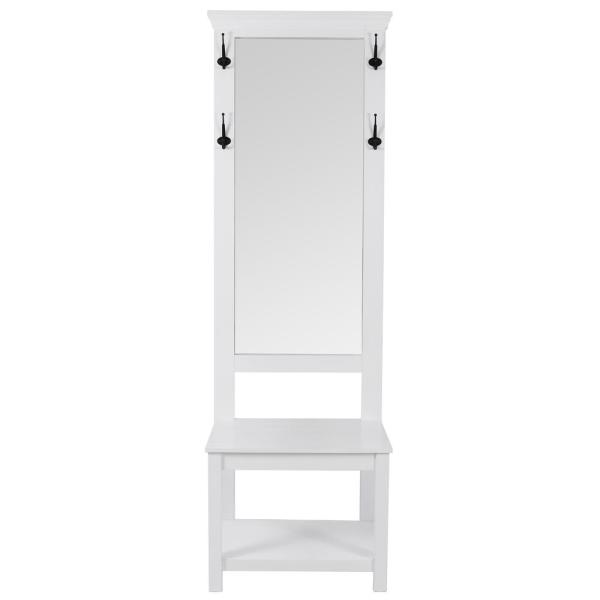Decor Therapy Tucker White Mirrored Hall Tree FR8754