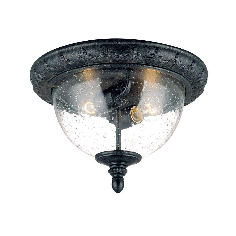 Acclaim Lighting Fleur de Lis Collection Ceiling-Mount 2-Light Outdoor Stone Light Fixture