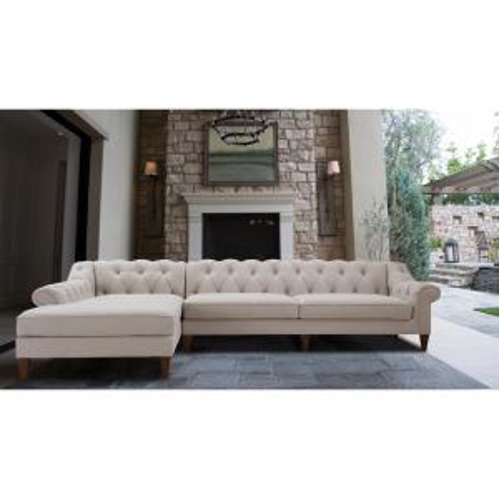 Admirable Jennifer Taylor Alexandra Bone White Tufted Left Sectional Pdpeps Interior Chair Design Pdpepsorg