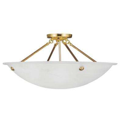 Providence 4-Light Polished Brass with White Alabaster Glass Flush Mount