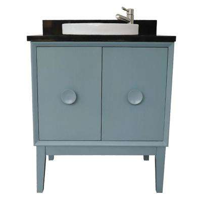Stora 31 in. W x 22 in. D Bath Vanity in Aqua Blue with Granite Vanity Top in Black with White Round Basin