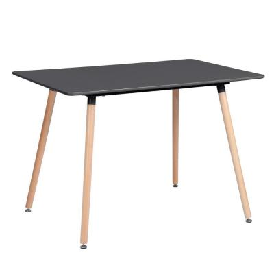 Rookie Black Top Rectangular Dining Table with Round Beech Wood Legs