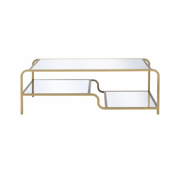 Acme Furniture Astrid Gold and Clear Glass Coffee Table 81090