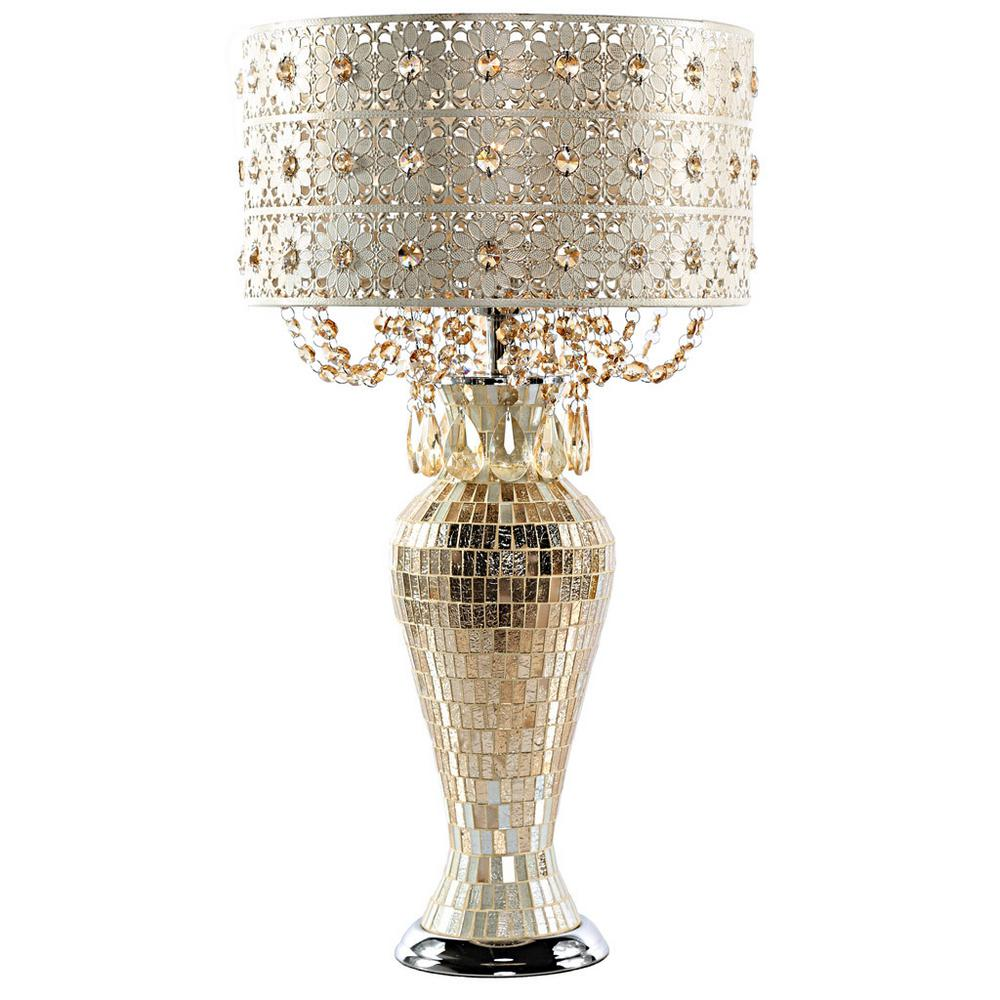 25 in. Champagne Indoor Poetic Wanderlust by Tracy Porter Table Lamp with Jeweled Metal and Mosaic Base