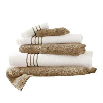 6-Piece Quick Dry Stripe Towel Set in Taupe