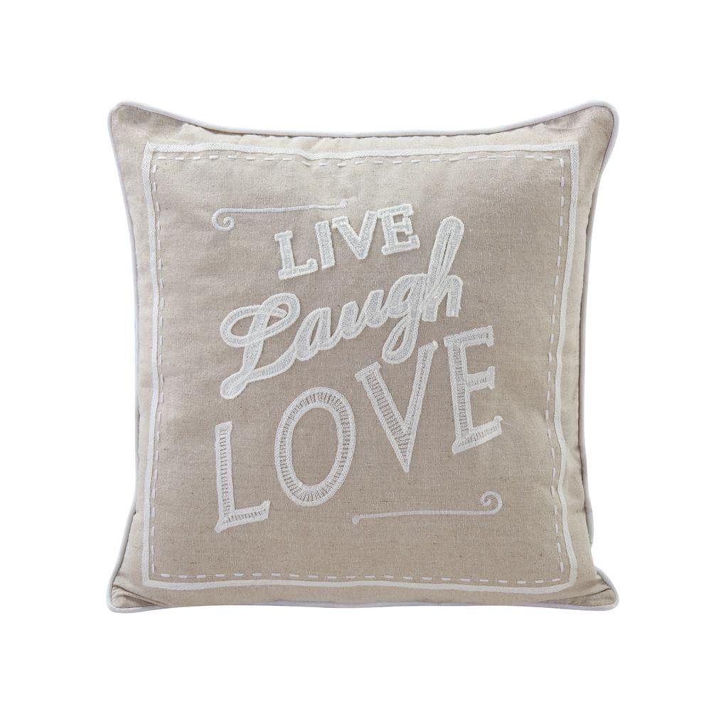 DanyaB DANYA B Live Laugh Love Ivory Solid Polyester 17 in. x 17 in. Throw Pillow