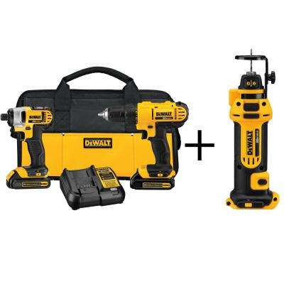 20-Volt MAX Lithium-Ion Cordless Combo Kit (2-Tool) with Bonus Cordless Drywall Cut-Out Tool (Tool-Only)