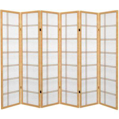 6 ft. Natural Canvas Double Cross 6-Panel Room Divider
