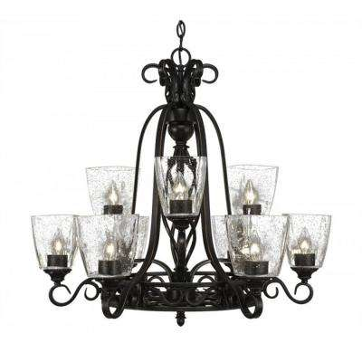 9-Light Dark Granite Chandelier with Clear Bubble Glass Shade