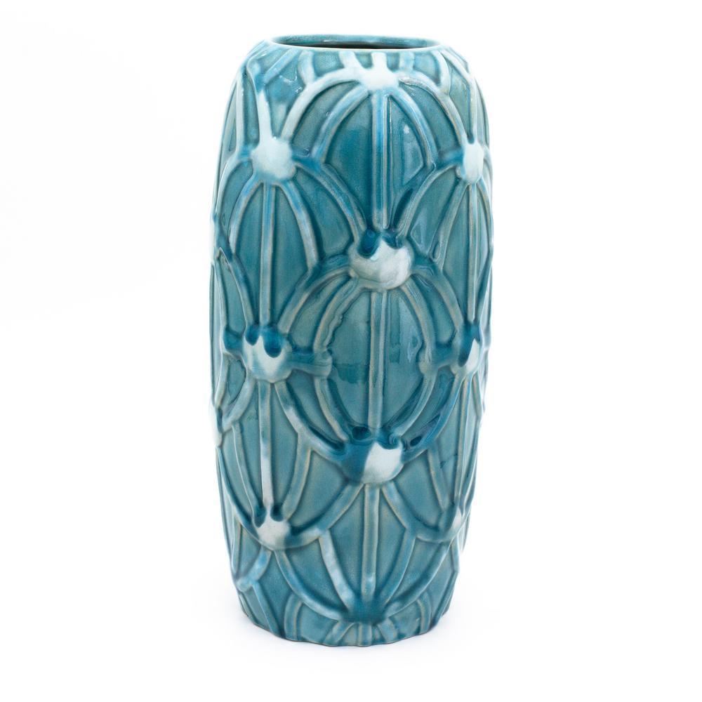 Grotto Aqua Rope Emboss Column Vase