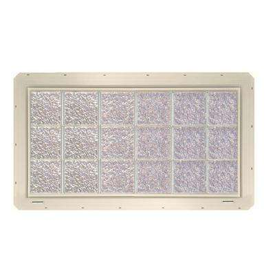 46.75 in. x 24.25 in. x 3.25 in. Ice Pattern Glass Block Window with Almond Colored Vinyl Nailing Fin