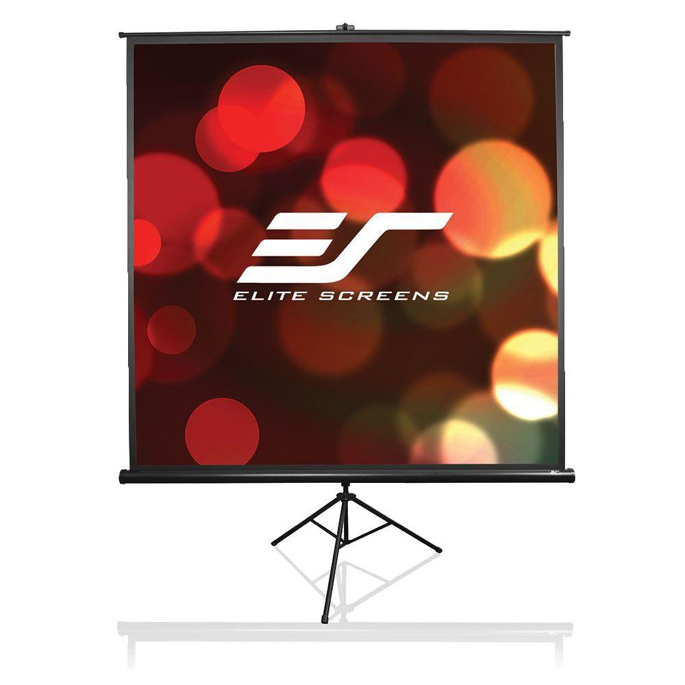 Elite Screens 49 in. H x 87 in. W Manual Tripod Portable Projection Screen with Black Case