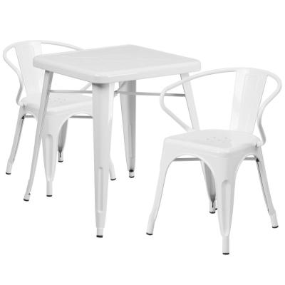 3-Piece Metal Square Outdoor Bistro Set in White