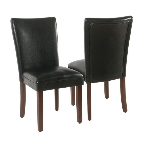 Parsons Black Faux Leather Upholstered Dining Chair Set of 2