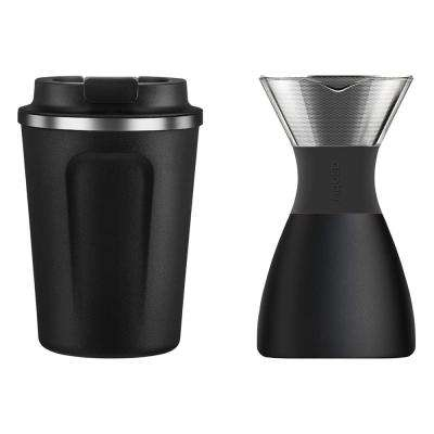 32 oz. PourOver Insulated Stainless Steel Coffee Maker with 13 oz. Black Cafe Compact Mug 3-Piece Kit
