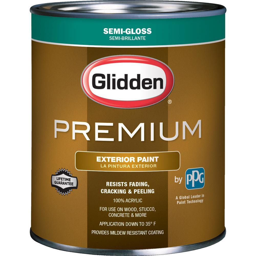 Glidden Premium 1 Qt Semi Gloss Latex Exterior Paint Gl6813 04 The Home Depot