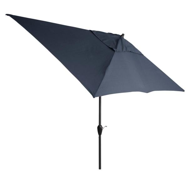 10 ft. x 6 ft. Aluminum Market Patio Umbrella in CushionGuard Midnight with Push-Button Tilt