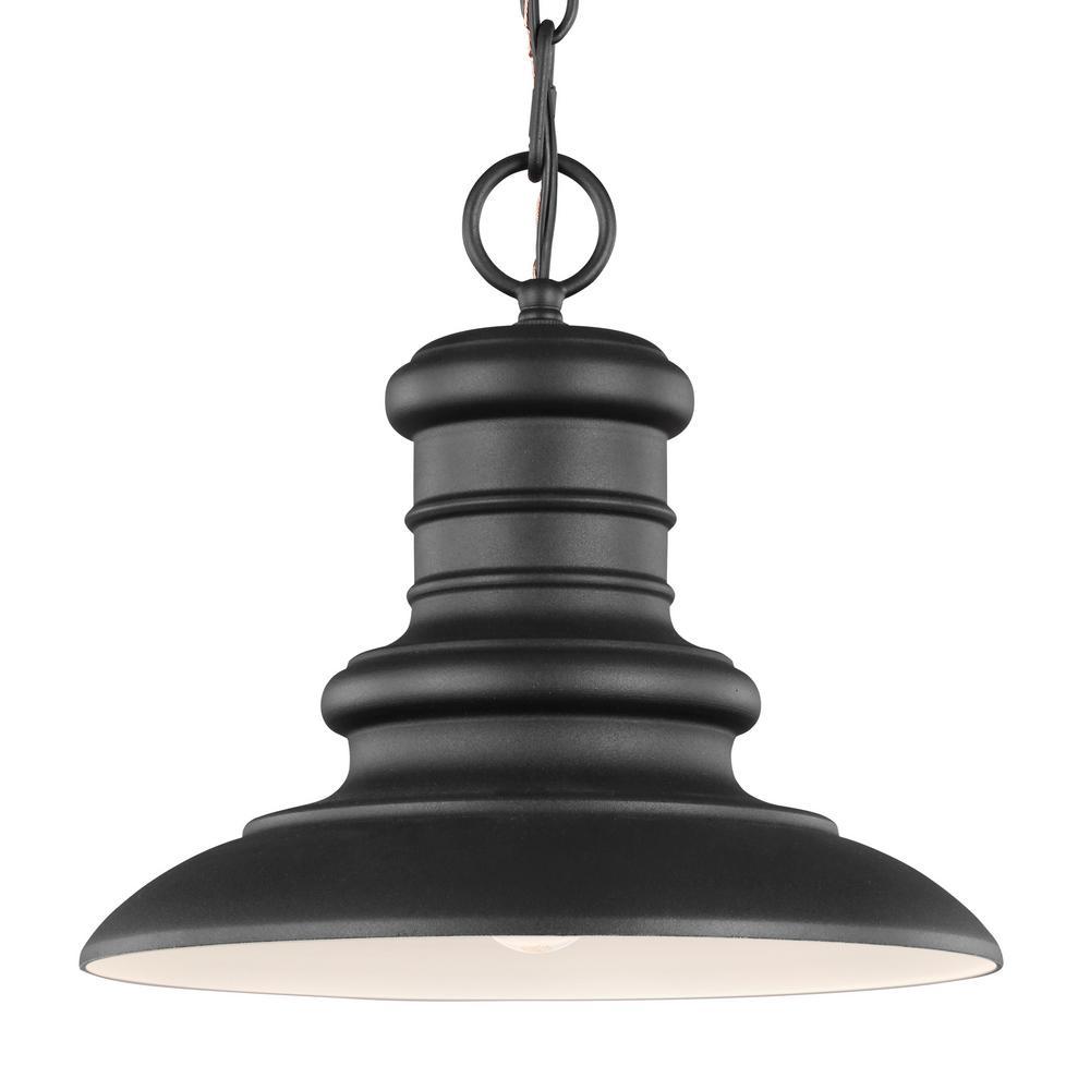 Feiss Redding Station Textured Black 1-Light Hanging Lantern