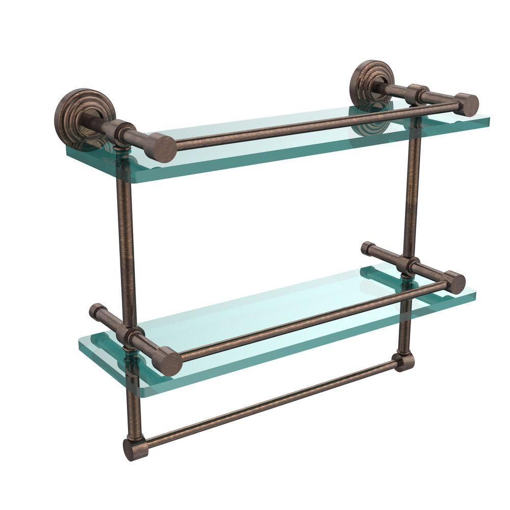 16 in. L  x 12 in. H  x 5 in. W 2-Tier Gallery Clear Glass Bathroom Shelf with Towel Bar in Venetian Bronze