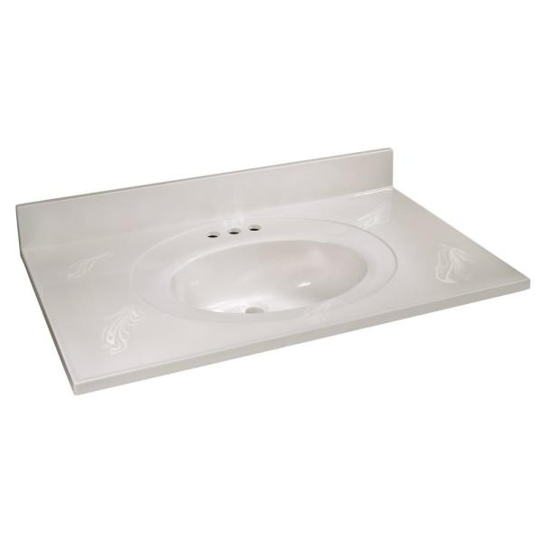 37 in. W x 22 in. D Cultured Marble Vanity Top in White on White with White on White Basin and 4 in. Faucet Spread