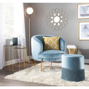 Remarkable Lumisource Chloe Powder Blue Velvet And Gold Accent Chair Onthecornerstone Fun Painted Chair Ideas Images Onthecornerstoneorg