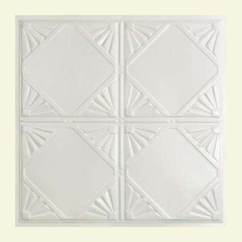 Erie 2 ft. x 2 ft. Lay-in Tin Ceiling Tile in Gloss White