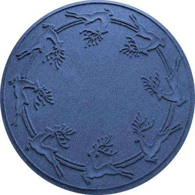 Aqua Shield Navy 35 in. Round Reindeer Run Under the Tree Mat