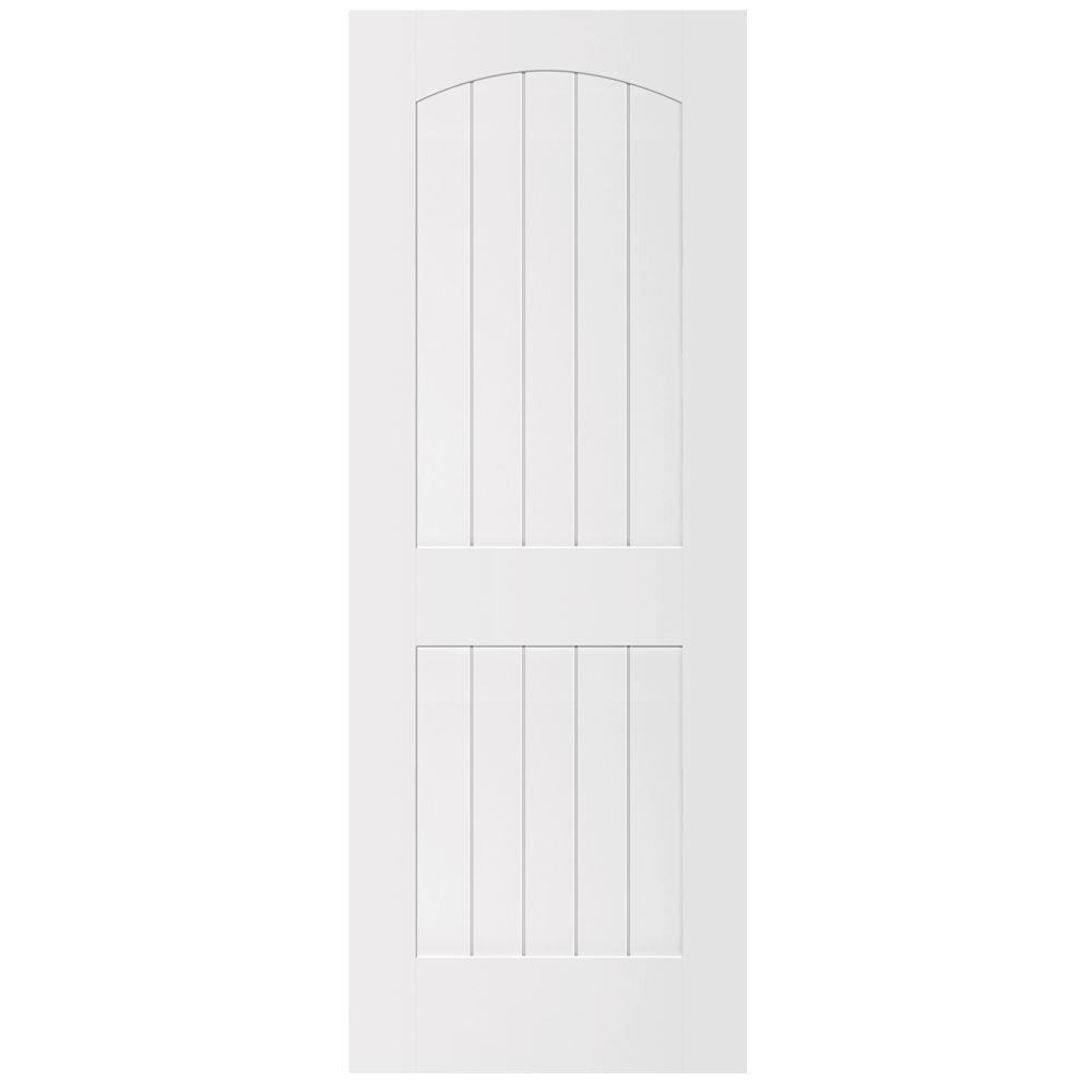 Steves & Sons Ultra 2-Panel Round Top V-Groove Primed White Solid Core Composite Interior Door Slab