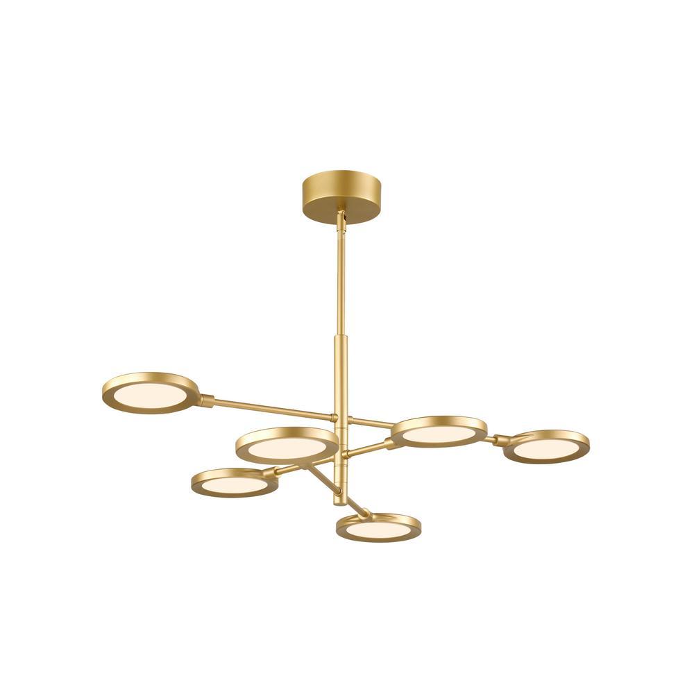 Spectica 43.2-Watt Satin Gold Integrated LED Chandelier