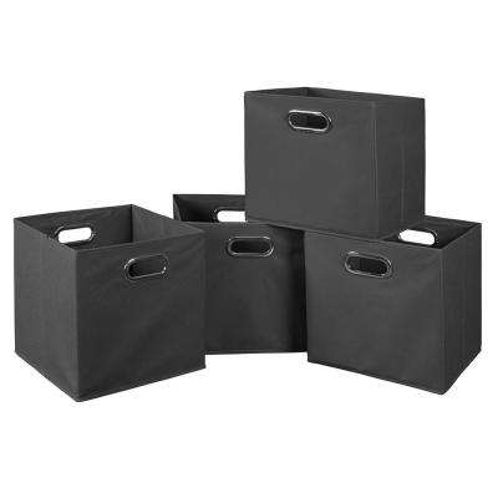 Cubo 12 in. x 12 in. Grey Foldable Fabric Bin (4-Pack)