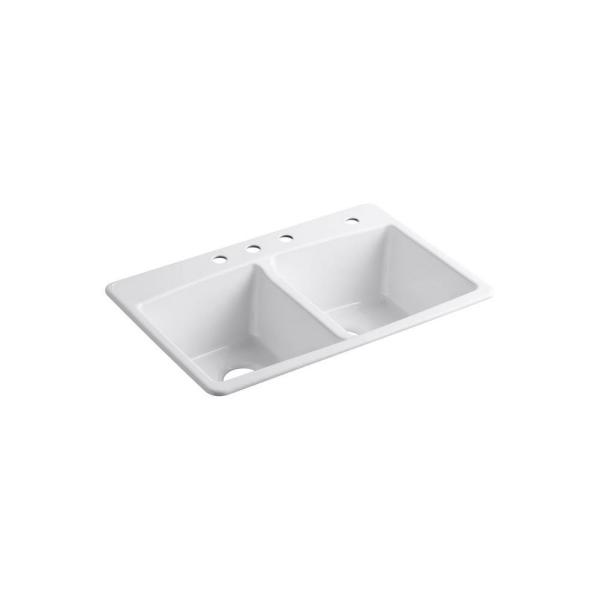 Brookfield Drop-In Cast Iron 33 in. 4-Hole Double Bowl Kitchen Sink in White