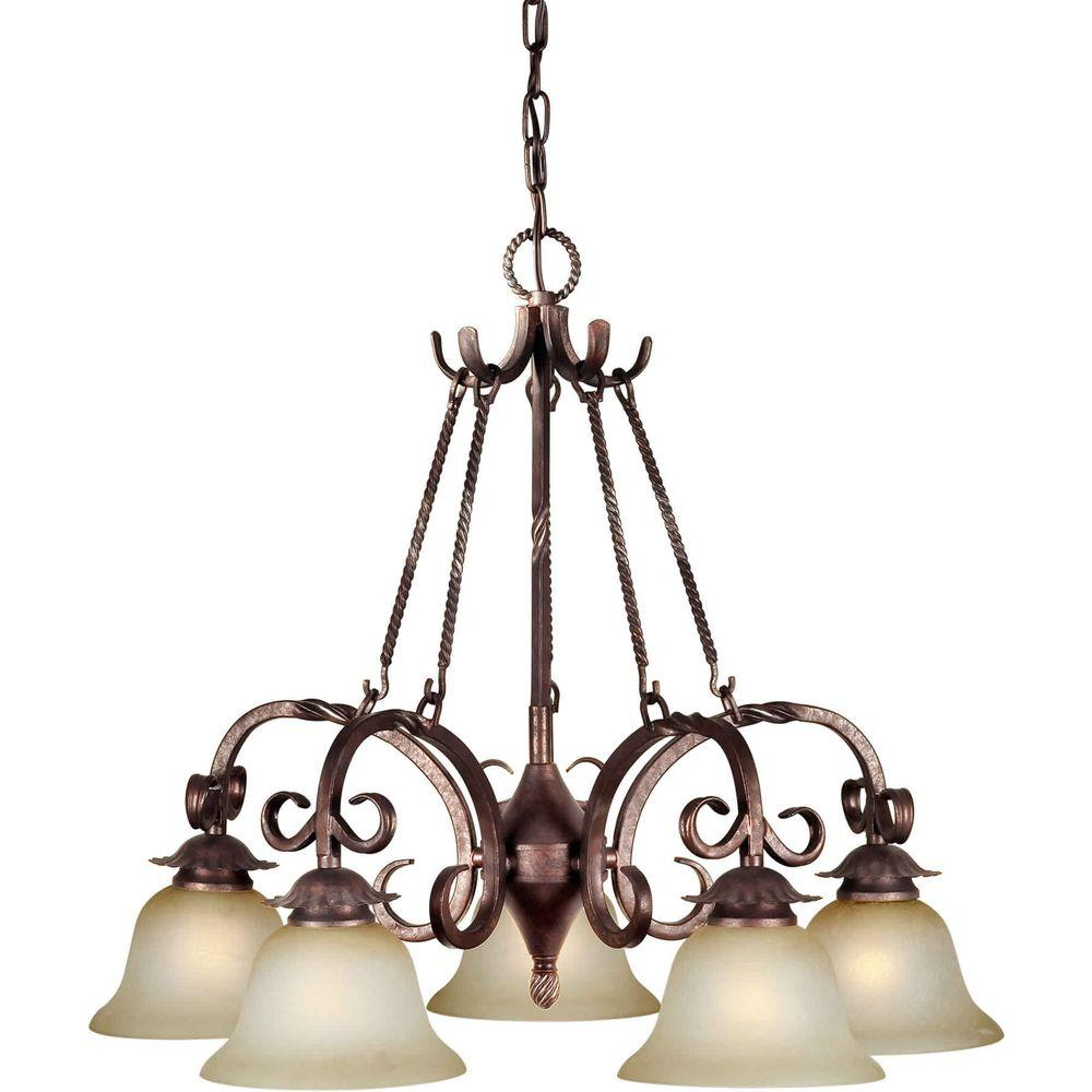 Talista 5-Light Black Cherry Chandelier with Umber Mist Glass