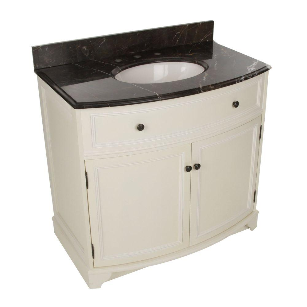 Foremost Arcadia 37-1/4 in. Vanity in Frost White with Marble Top in Dark Emperador and Sink in Biscuit-DISCONTINUED