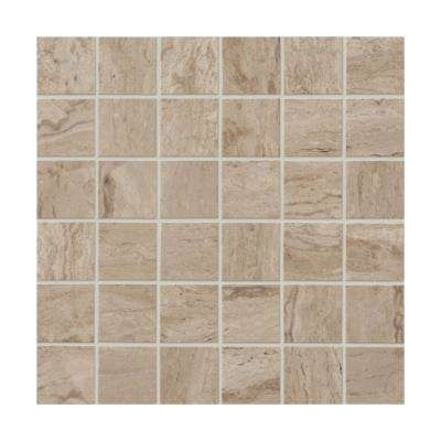 Marble View Travertine Matte 12 in . x 12 in. x 9.5 mm Porcelain Mosaic Floor and Wall Tile (0.96 sq. ft. / piece)